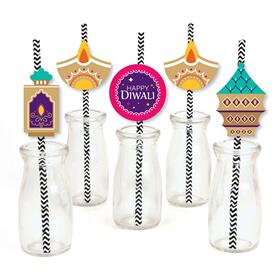 Happy Diwali - Paper Straw Decor - Festival of Lights Party Striped Decorative Straws - Set of 24
