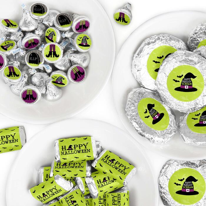 Happy Halloween - Mini Candy Bar Wrappers, Round Candy Stickers and Circle Stickers - Witch Party Candy Favor Sticker Kit - 304 Pieces