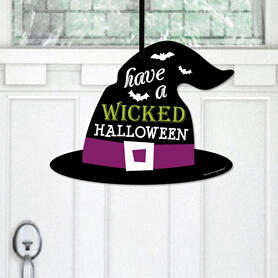 Happy Halloween - Hanging Porch Witch Party Outdoor Decorations - Front Door Decor - 1 Piece Sign