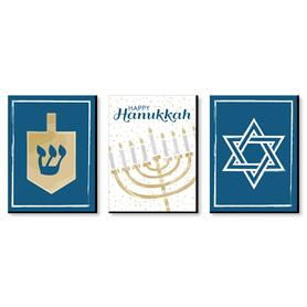 Happy Hanukkah - Chanukah Wall Art and Holiday Home Decorations - 7.5 x 10 inches - Set of 3 Prints