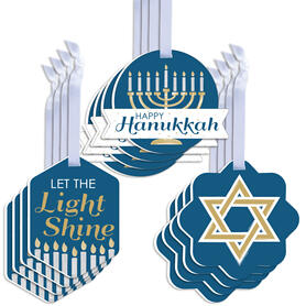 Happy Hanukkah - Assorted Hanging Chanukah Holiday Party Favor Tags - Gift Tag Toppers - Set of 12