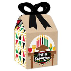 Happy Kwanzaa - Square Favor Gift Boxes - African Heritage Holiday Bow Boxes - Set of 12