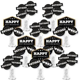 Happy Retirement - Retirement Party Centerpiece Sticks - Showstopper Table Toppers - 35 Pieces