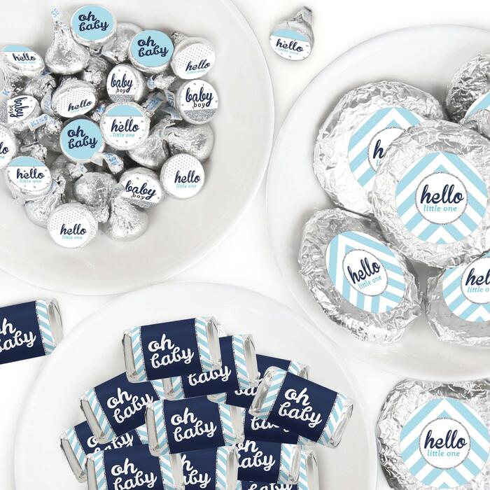 Hello Little One - Blue and Silver - Mini Candy Bar Wrappers, Round Candy Stickers and Circle Stickers - Boy Baby Shower Candy Favor Sticker Kit - 304 Pieces