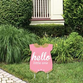 Hello Little One - Pink and Gold - Outdoor Lawn Sign - Girl Baby Shower Yard Sign - 1 Piece