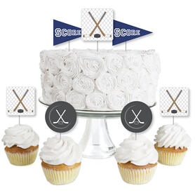 Shoots & Scores! - Hockey - Dessert Cupcake Toppers - Baby Shower or Birthday Party Clear Treat Picks - Set of 24