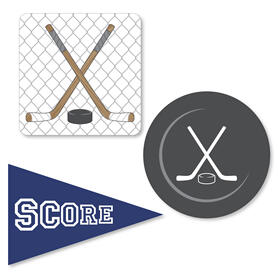 Shoots & Scores! - Hockey - DIY Shaped Party Paper Cut-Outs - 24 ct