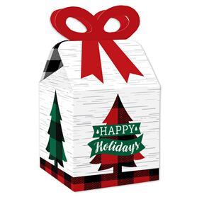 Holiday Plaid Trees - Square Favor Gift Boxes - Buffalo Plaid Christmas Party Bow Boxes - Set of 12