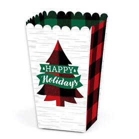 Holiday Plaid Trees - Buffalo Plaid Christmas Party Favor Popcorn Treat Boxes - Set of 12