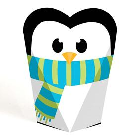 Holly Jolly Penguin Holiday & Christmas Party Favors - Gift Heart Shaped Favor Boxes for Women  & Kids - Set of 12