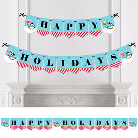 Holly Jolly Penguin - Personalized Holiday & Christmas Party Bunting Banner & Decorations