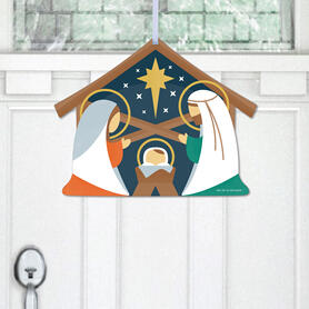 Holy Nativity - Hanging Porch Manger Scene Religious Christmas Outdoor Decorations - Front Door Decor - 1 Piece Sign