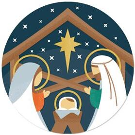 Holy Nativity - Manger Scene Religious Christmas Theme