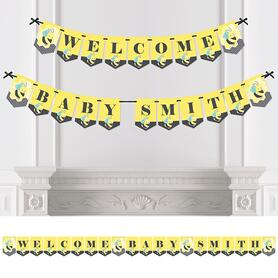Personalized Honey Bee - Custom Baby Shower Bunting Banner and Decorations - Welcome Baby Custom Name Banner