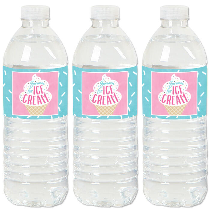 Scoop Up The Fun - Ice Cream - Sprinkles Party Water Bottle Sticker Labels - Set of 20