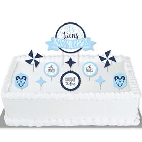 It's Twin Boys - Blue Twins Baby Shower Cake Decorating Kit - Welcome Babies Cake Topper Set - 11 Pieces