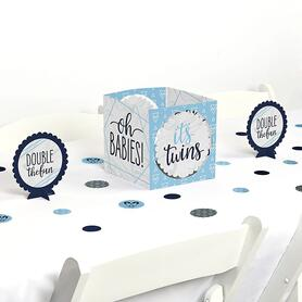 It's Twin Boys - Blue Twins Baby Shower Centerpiece & Table Decoration Kit