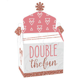 It's Twin Girls - Treat Box Party Favors - Pink and Rose Gold Twins Baby Shower Goodie Gable Boxes - Set of 12
