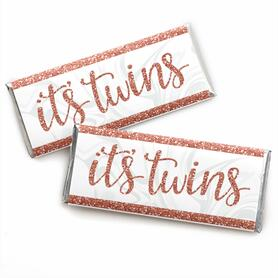 It's Twin Girls -  Candy Bar Wrapper Pink and Rose Gold Twins Baby Shower Favors - Set of 24