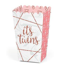 It's Twin Girls - Pink and Rose Gold Twins Baby Shower Favor Popcorn Treat Boxes - Set of 12