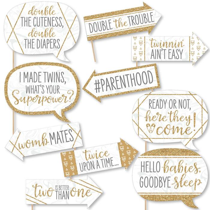 Funny It's Twins - 10 Piece Gold Twins Baby Shower Photo Booth Props Kit