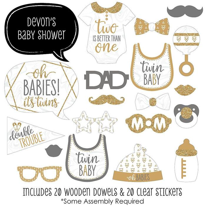 It's Twins - 20 Piece Gold Twins Baby Shower Photo Booth Props Kit