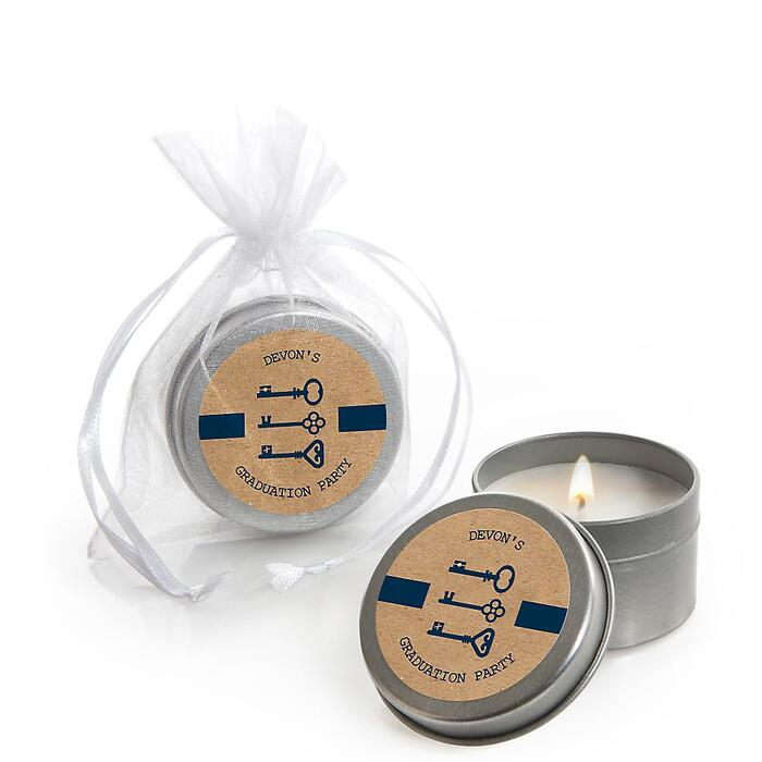 Grad Keys to Success - Personalized Graduation Candle Tin Favors - Set of 12