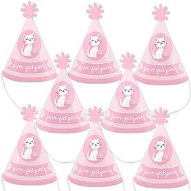 Purr-fect Kitty Cat - Mini Cone Kitten Meow Baby Shower or Birthday Party Hats - Small Little Party Hats - Set of 8