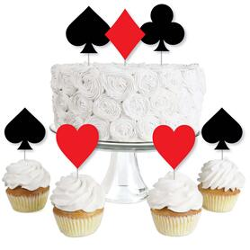 Las Vegas - Dessert Cupcake Toppers - Casino Party Clear Treat Picks - Set of 24