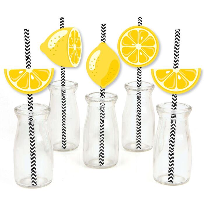 So Fresh - Lemon - Paper Straw Decor - Citrus Lemonade Party Striped Decorative Straws - Set of 24