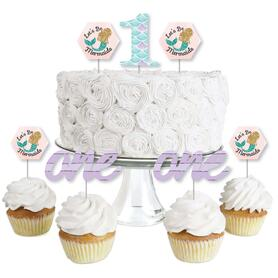 1st Birthday Let's Be Mermaids - Dessert Cupcake Toppers - First Birthday Party Clear Treat Picks - Set of 24