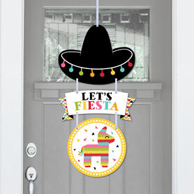 Let's Fiesta - Hanging Porch Mexican Fiesta Outdoor Decorations - Front Door Decor - 3 Piece Sign