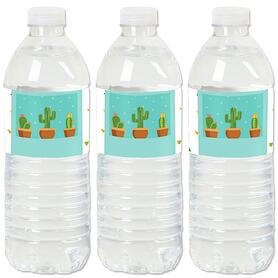Let's Fiesta - Mexican Fiesta Party Water Bottle Sticker Labels - Set of 20