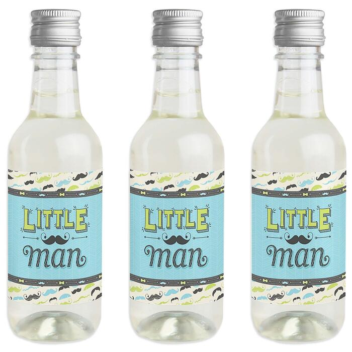Dashing Little Man Mustache Party - Mini Wine and Champagne Bottle Label Stickers - Baby Shower or Birthday Party Favor Gift - For Women and Men - Set of 16