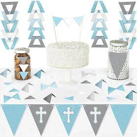 Little Miracle Boy Blue & Gray Cross - DIY Pennant Banner Decorations - Baptism or Baby Shower Triangle Kit - 99 Pieces