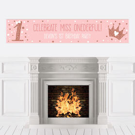 1st Birthday Little Miss Onederful - Personalized Happy First Birthday Girl Party Banner