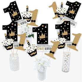 1st Birthday Little Mr. Onederful - Boy First Birthday Party Centerpiece Sticks - Table Toppers - Set of 15