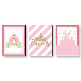 Little Princess Crown - Castle Nursery Wall Art & Kids Room Decor - 7.5 x 10 inches - Set of 3 Prints