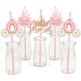 Little Princess Crown - Paper Straw Decor - Pink and Gold Princess Baby Shower or Birthday Party Striped Decorative Straws - Set of 24