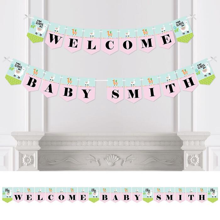 Personalized Whole Llama Fun - Custom Llama Fiesta Baby Shower Bunting Banner and Decorations - Welcome Baby Custom Name Banner