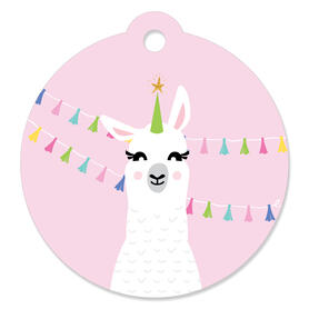 Whole Llama Fun - Llama Fiesta Baby Shower or Birthday Party Favor Gift Tags (Set of 20)