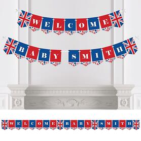 Personalized Cheerio, London - Custom British UK Baby Shower Bunting Banner and Decorations - Welcome Baby Custom Name Banner