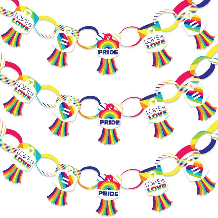 Love is Love - Gay Pride - 90 Chain Links and 30 Paper Tassels Decoration Kit - LGBTQ Rainbow Party Paper Chains Garland - 21 feet