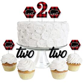 2nd Birthday Lumberjack - Channel The Flannel - Dessert Cupcake Toppers - Buffalo Plaid Second Birthday Party Clear Treat Picks - Set of 24