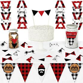 Lumberjack - Channel The Flannel - DIY Pennant Banner Decorations - Buffalo Plaid Party Triangle Kit - 99 Pieces