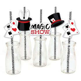 Ta-Da, Magic Show - Paper Straw Decor - Magical Birthday Party Striped Decorative Straws - Set of 24
