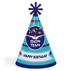 Making Waves - Swim Team - Cone Swimming Happy Birthday Party Hats for Kids and Adults - Set of 8 (Standard Size)