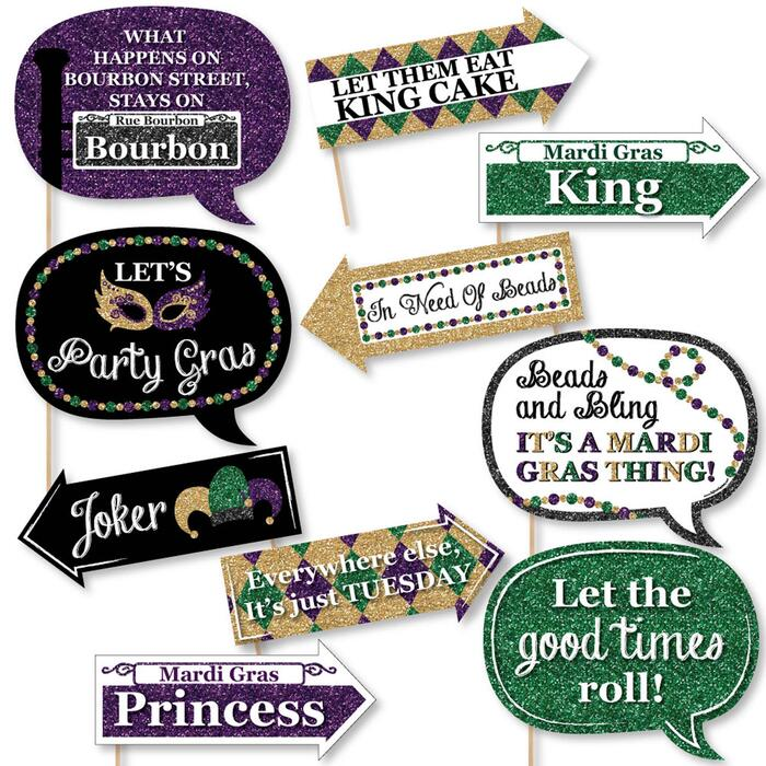 Funny Mardi Gras - 10 Piece Photo Booth Props Kit