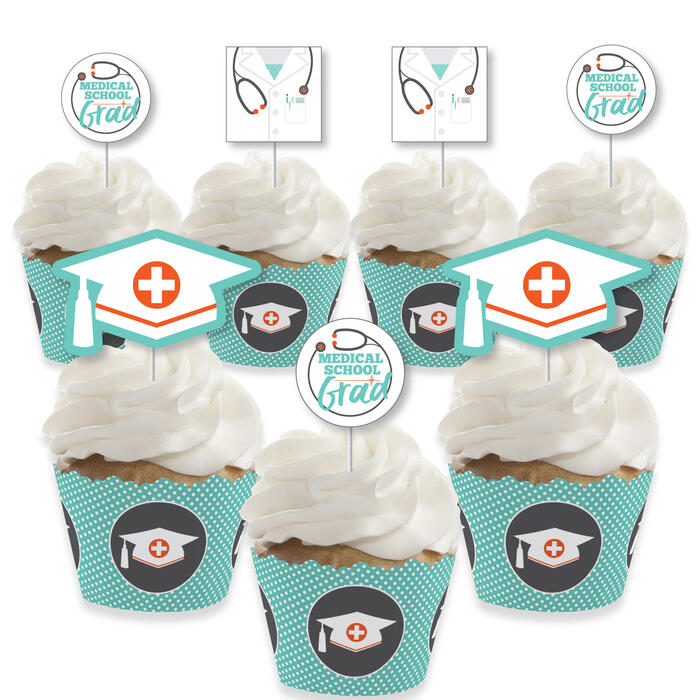 Medical School Grad - Cupcake Decoration - Doctor Graduation Party Cupcake Wrappers and Treat Picks Kit - Set of 24