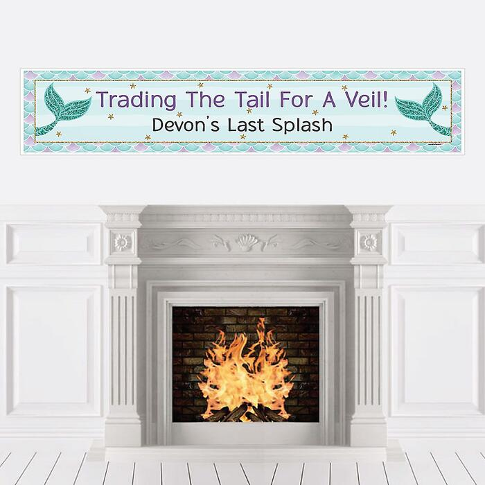 Trading The Tail For A Veil - Personalized Mermaid Bachelorette Party or Bridal Shower Banner